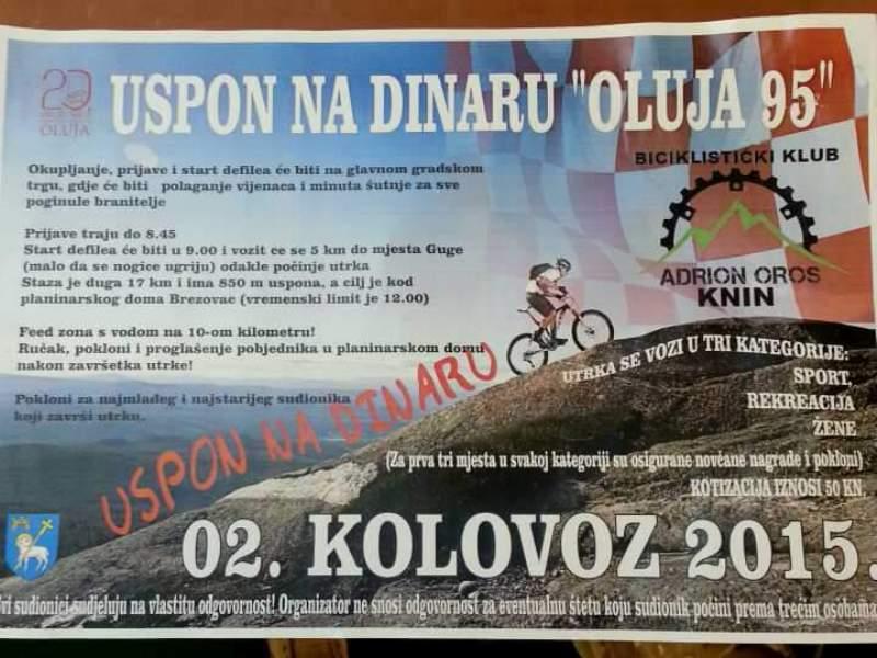 """U nedjelju biciklistička utrka """"Uspon na Dinaru – Oluja 95"""""""