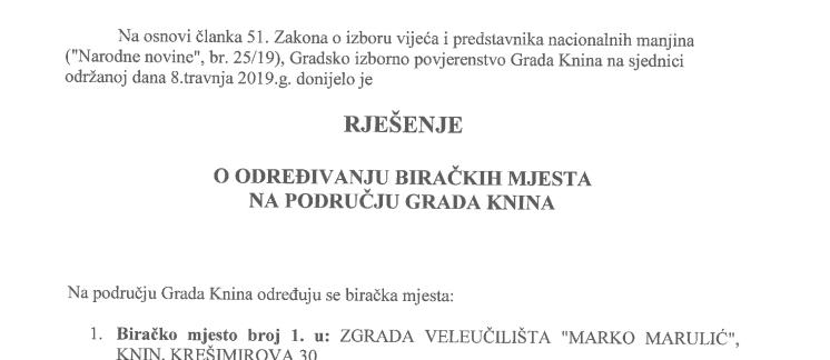 Rješenje o određivanju biračkih mjesta na području Grada Knina