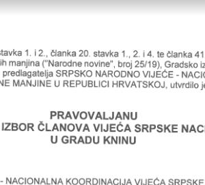 Pravovaljana lista kandidata za izbor članova vijeća srpske nacionalne manjine u Gradu Kninu