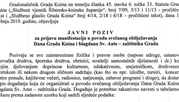 Javni poziv za prijavu manifestacija u povodu svečanog obilježavanja Dana Grada Knina i blagdana sv. Ante