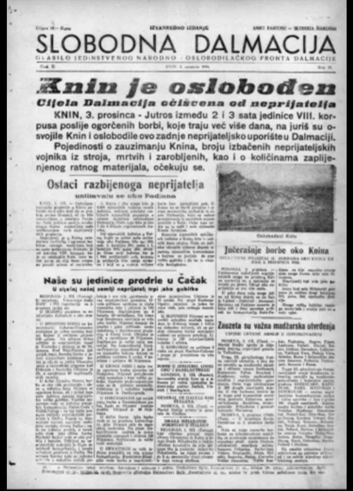 Olobođenje Knina 1944 – novine