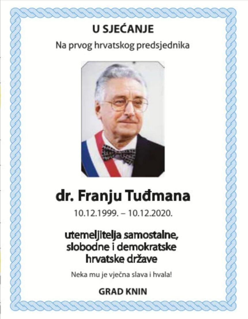 U sjećanje: dr. Franjo Tuđman (10.12.1999. – 10.12.2020.)